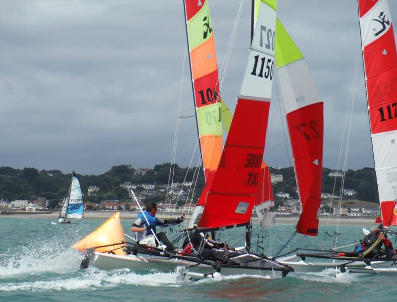 Hobie 16s at the downwind gate during the Rubicon (Jersey) Channel Islands Hobie Cat Championships - photo © Bill Harris