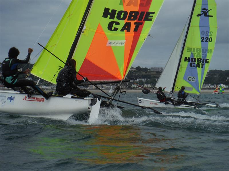 Hobie Dragoon Class winners, Elsa Swetenham and Finlay Arenz in the foreground during the Rubicon (Jersey) Channel Islands Hobie Cat Championships - photo © Bill Harris