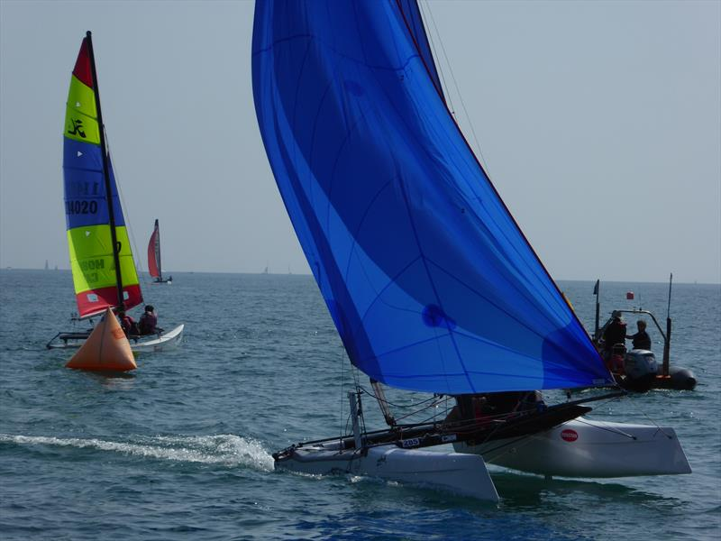 Darren Stower and Graeme Monk's Wildcat during the Rubicon (Jersey) Channel Islands Hobie Cat Championships - photo © Elaine Burgis