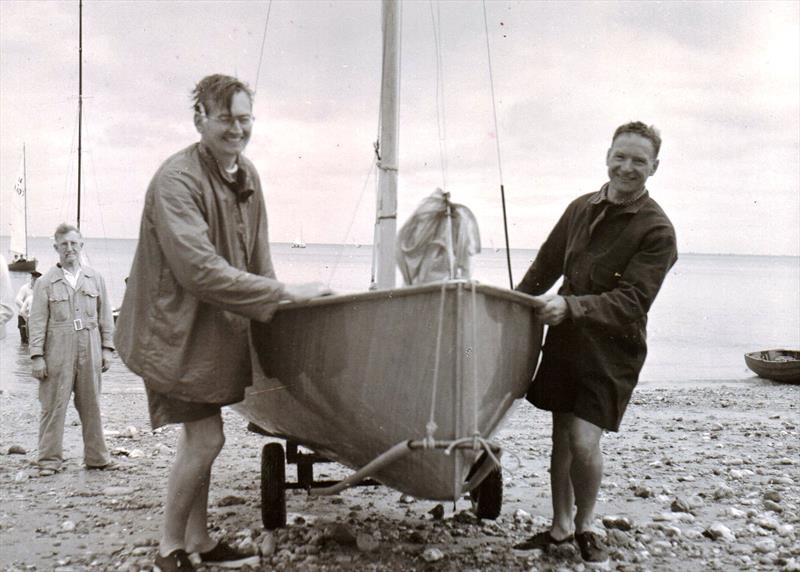 Helm Nick Martin and crew John Westell coming ashore at Seaview after winning the prestigious Prince of Wales Trophy in 1952 - photo © G. Westell