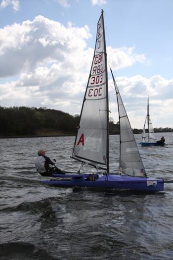 Enjoying Llangdegfedd Water in an International Canoe