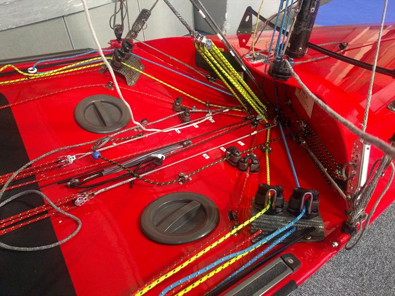 Knot so simple controls on the International Canoe at the RYA Dinghy Show 2018 - photo © Mark Jardine / YachtsandYachting.com
