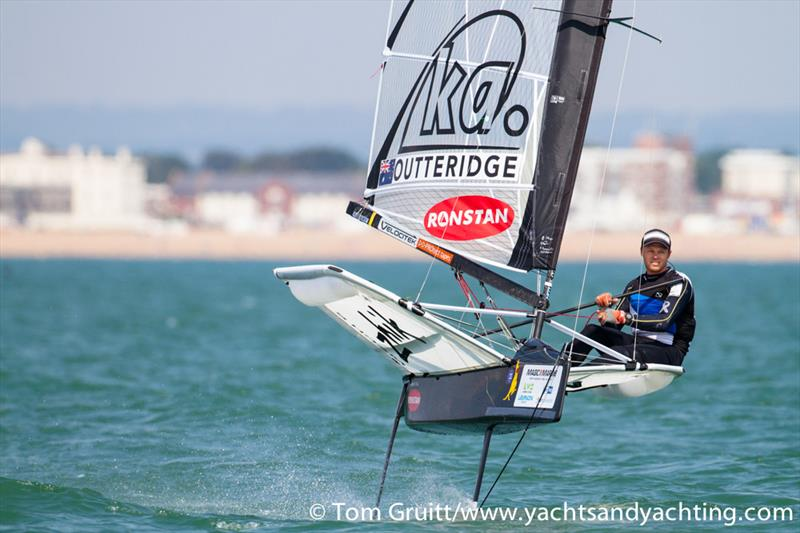 Nathan Outteridge on day 6 of the International Moth World Championships - photo © Tom Gruitt / YachtsandYachting.com
