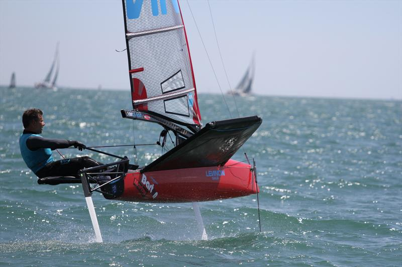 Mike Lennon on day 1 of the International Moth UK Nationals