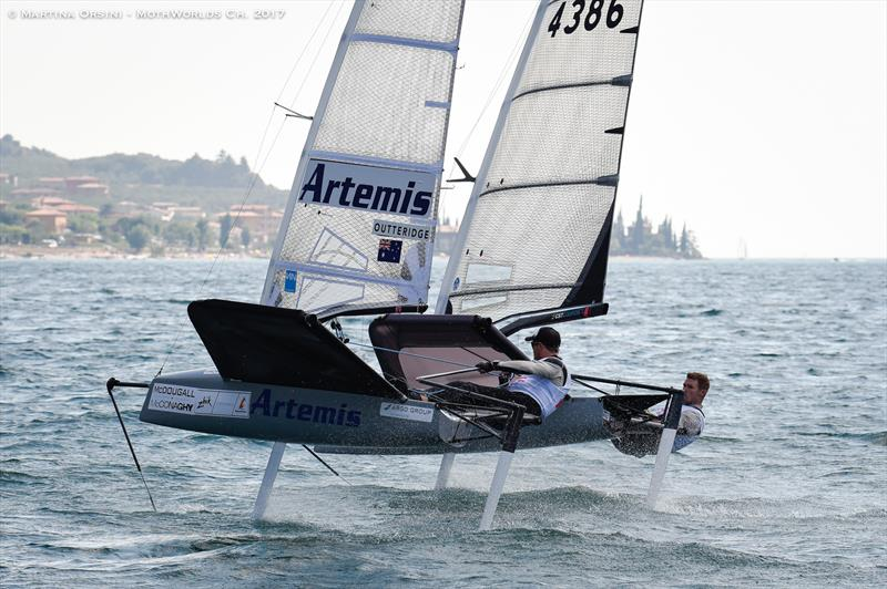 Nathan Outteridge and Tom Slingsby warm up for the Worlds on Lake Garda - photo © Martina Orsini