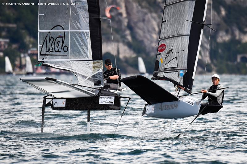 Peter Burling (left) and Paul Goodison (right) at the Moth Worlds on Lake Garda - photo © Martina Orsini