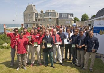 The winning Rolex Commodores' Cup Team France Bleu on the lawn of the Royal Yacht Squadron