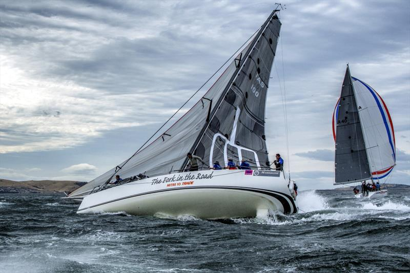 The Fork in the Road was one of several spectacular broaches when 25 knot westerly gust hit the fleet just after the start - photo © Jimmy Emms