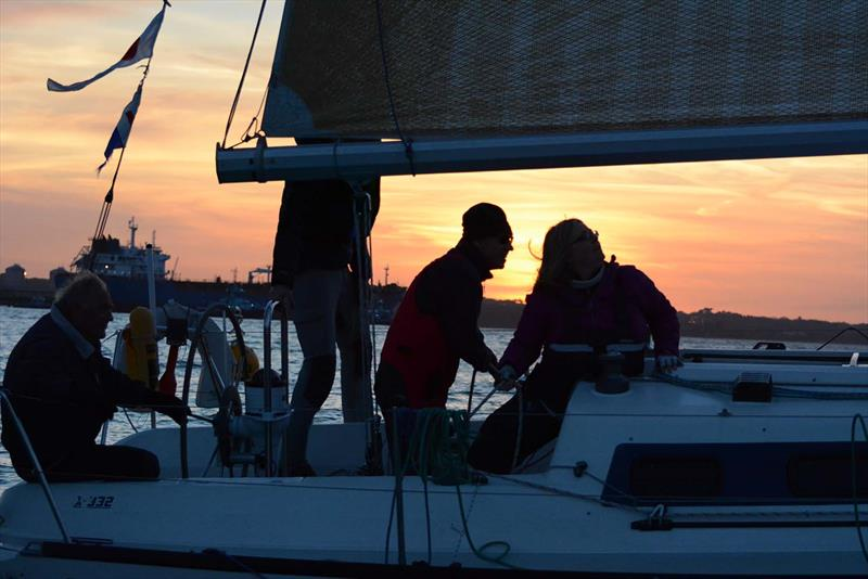 Sunset on day 2 of the Hamble River Early Bird Series  - photo © Trevor Pountain
