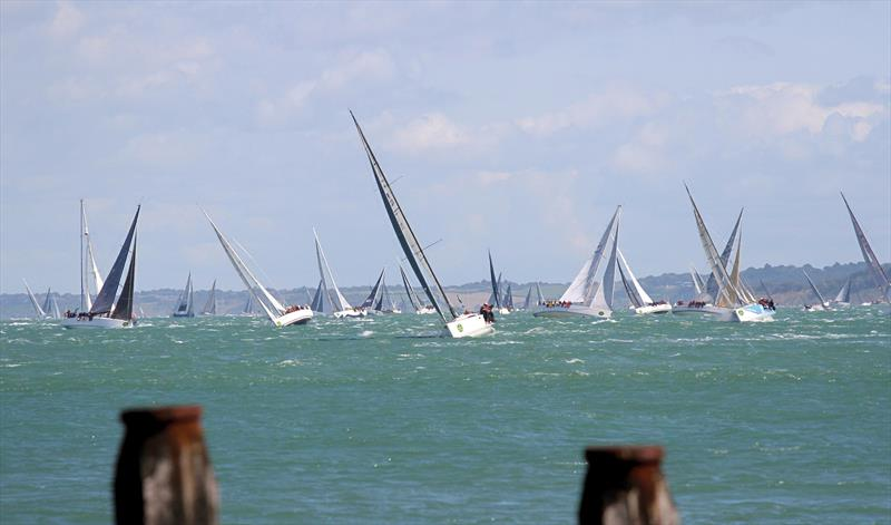 A crowded Western Solent after the Rolex Fastnet Race start - photo © Mark Jardine / YachtsandYachting.com