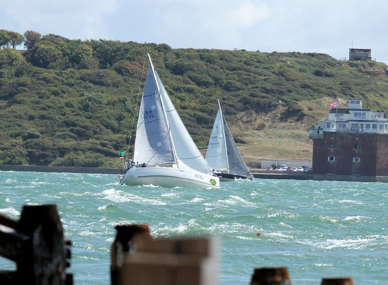 Passing Fort Albert after the Rolex Fastnet Race start - photo © Mark Jardine / YachtsandYachting.com