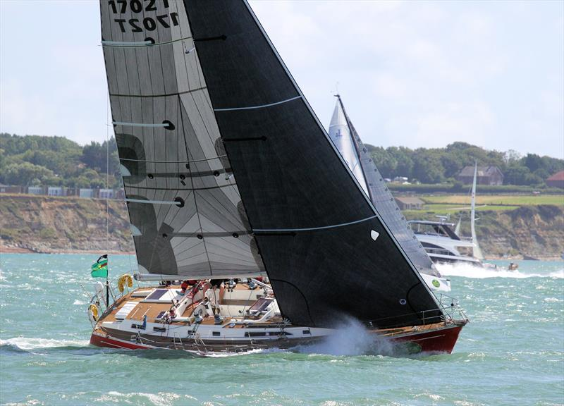 Powering by past Hurst Castle after the Rolex Fastnet Race start - photo © Mark Jardine / YachtsandYachting.com
