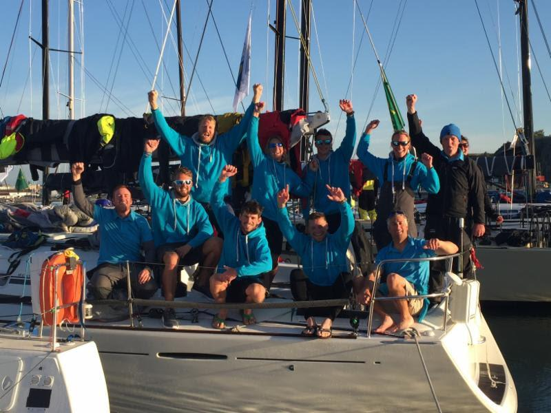A tired but elated crew on Nick and Suzi Jones' First 44.7 Lisa, skippered by RORC Commodore Michael Boyd - photo © RORC