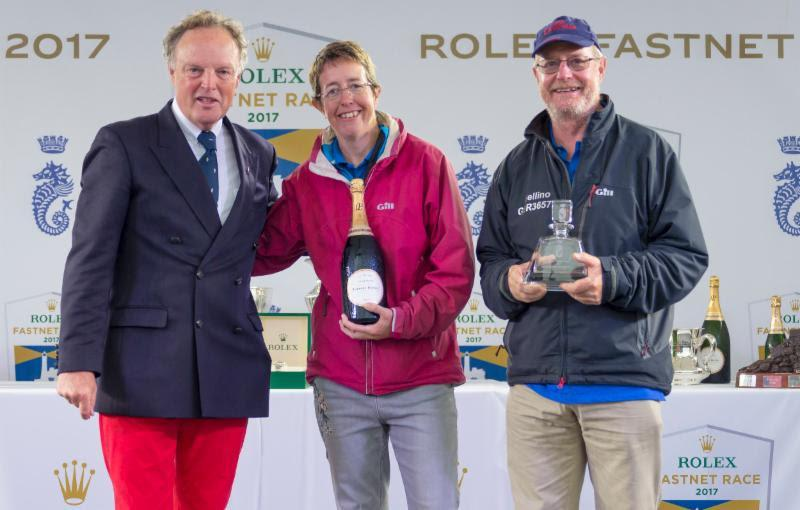 Deb Fish and Rob Craigie who won the mixed two handed prize and best yacht with a female skipper in the 2017 Rolex Fastnet Race - photo © Carlo Borlenghi / Rolex