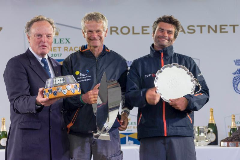 Pascal and Alexis Loison, win IRC Four overall, best Two Handed yacht overall and in IRC 4 and Joe Power Trophy for best IRC yacht round the Rock on corrected time - photo © Carlo Borlenghi / Rolex