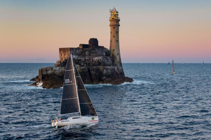 Rob Craigie and Deb Fish win the IRC Two Handed Class and the Boyd Trophy for Mixed Two Handed Division in  their Sun Fast 3600 Bellino, seen here rounding the Fastnet Rock - photo © Rolex / Carlo Borlenghi