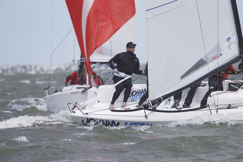 Ryan Foley's team out of Chicago on his J/70 Johnny Utah gets a taste of the breezy conditions they're likely to see on Friday when the regatta begins in earnest - photo © Charleston Race Week / Tim Wilkes