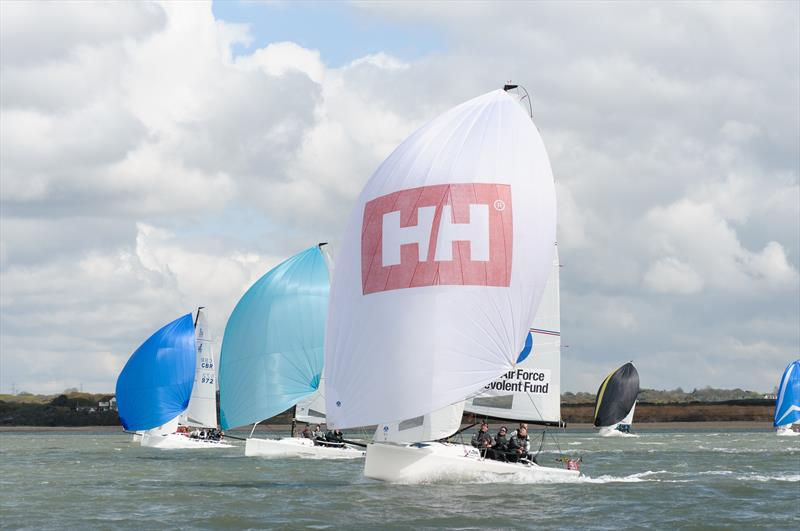 J70 RAF Ben Fund leads Injunction and Yeti on weekend 2 of the Crewsaver Warsash Spring Championship - photo © Iain McLuckie