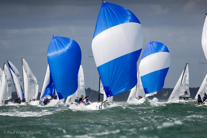 Tim Gratton's RTYC Academy Team lead the peloton downwind on day 2 of the J/70 Europeans - photo © Paul Wyeth / RSrnYC