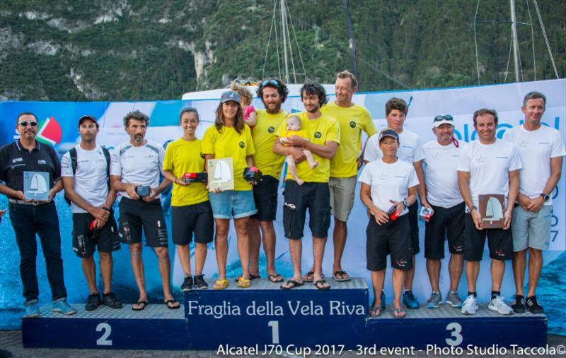 Podium in the Alcatel J/70 Cup Event 3 at Fraglia Vela Riva - photo © Studio Taccola