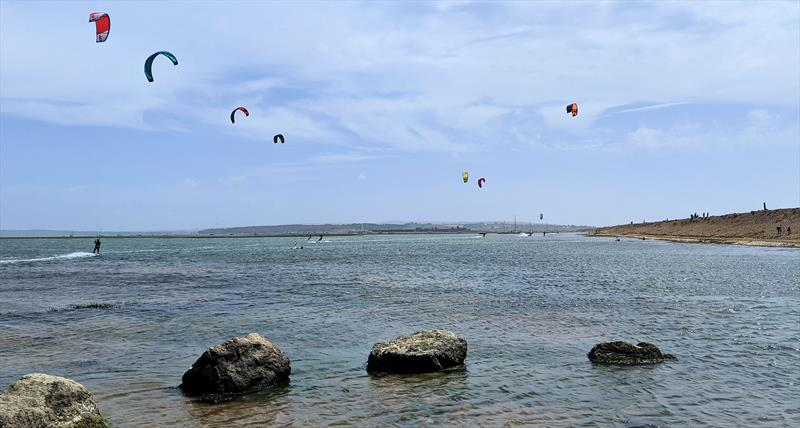 Kitesurfers out in force at Keyhaven on Saturday - photo © Mark Jardine