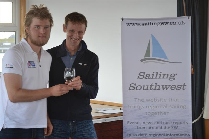 Ben Flower receiving the prize for the fastest boat at the abandoned Penzance Pirate - photo © Jonathan Miles / Sailing Southwest