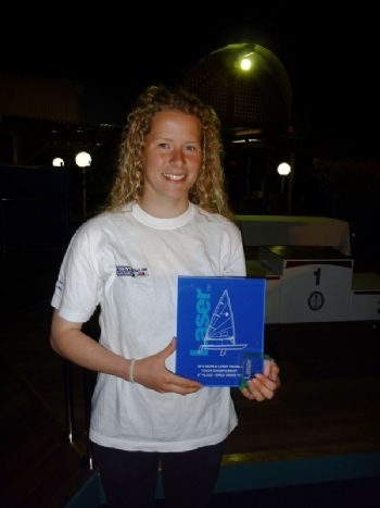 Georgina Povall with her 2012 Laser Radial Youth World Championship trophy