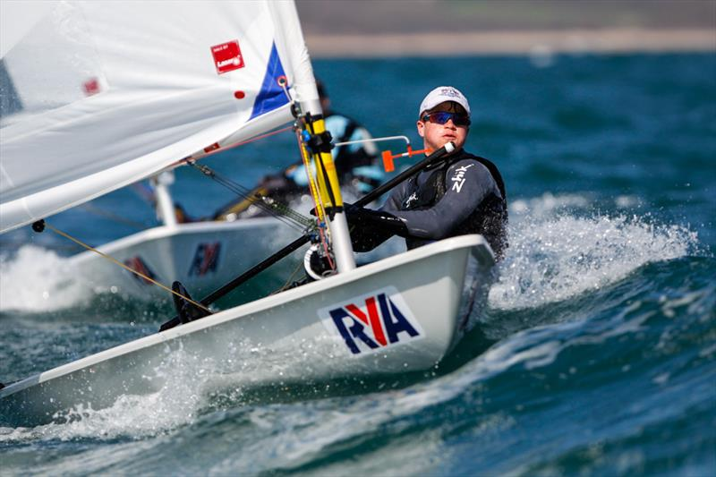 Jamie Calder wins in the Laser Radial men's title at the RYA Youth National Championships - photo © Paul Wyeth / RYA