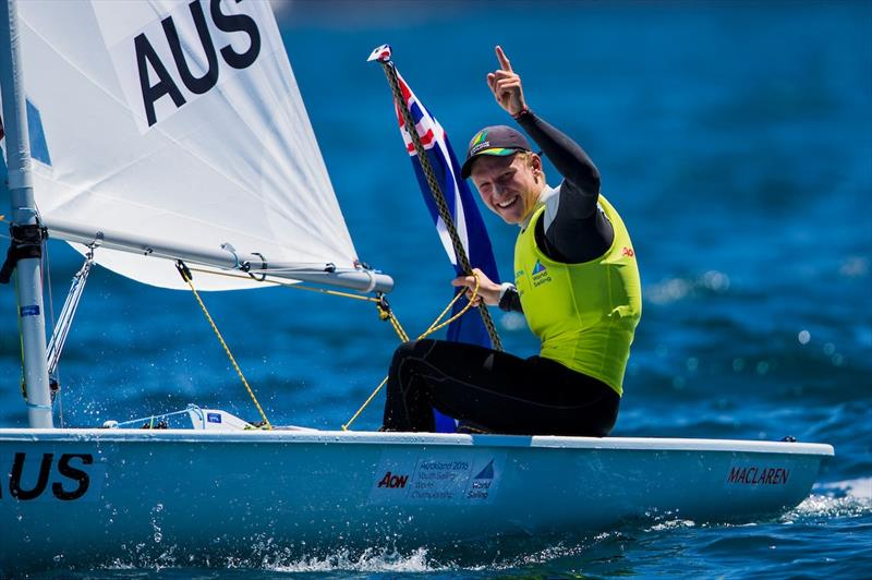 Gold for Finnian Alexander (AUS) at the Aon Youth Worlds in Auckland - photo © Pedro Martinez / Sailing Energy / World Sailing