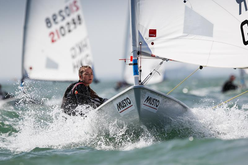 Chloe Barr on day 3 of the RYA Youth Nationals photo copyright Paul Wyeth / RYA taken at Hayling Island Sailing Club and featuring the Laser Radial class