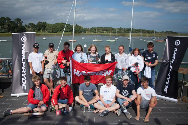 Prize winners on the club balcony after the Royal Lymington Yacht Club Youth Laser Open - photo © Christine Spreiter