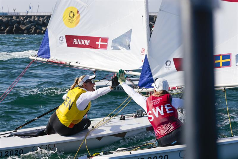 Gold for Denmark's Anne-Marie Rindom, Silver for Sweden's Josefin Olsson in the Women's Laser Radial at the Tokyo 2020 Olympic Sailing Competition - photo © Sailing Energy / World Sailing