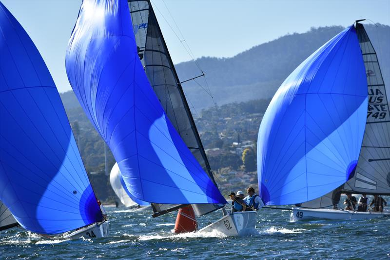 Export Roo (bow number 62) leading Porco Rosso on a fast spinnaker run during the SB20 Tasmanian Championship - photo © Jane Austin