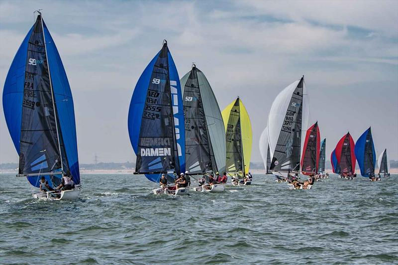 Downwind on day 2 of the SB20 Worlds at Cowes - photo © Jennifer Burgis
