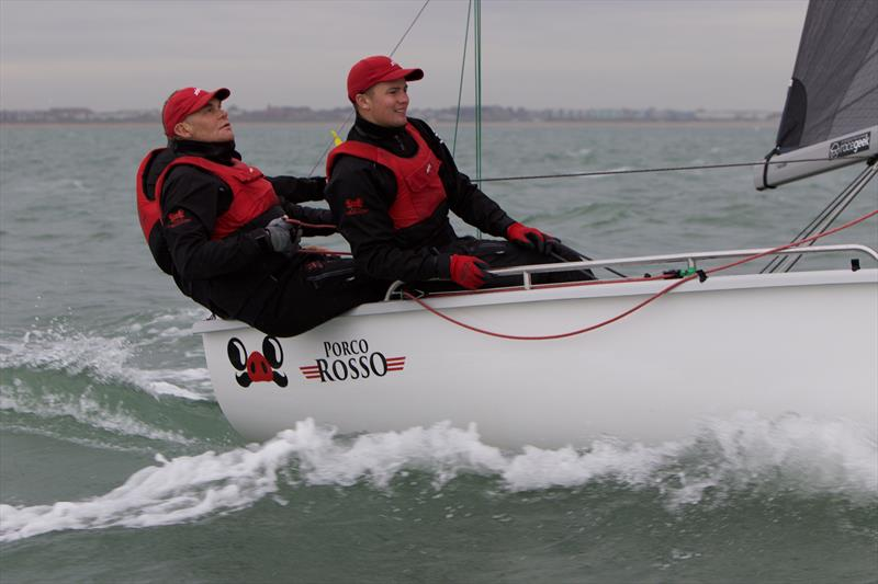 Owner Paul McCartney on main and forward hand Edward Snowball on the rail of Porco Rosso on day 3 of the SB20 Worlds at Cowes - photo © Jennifer Burgis