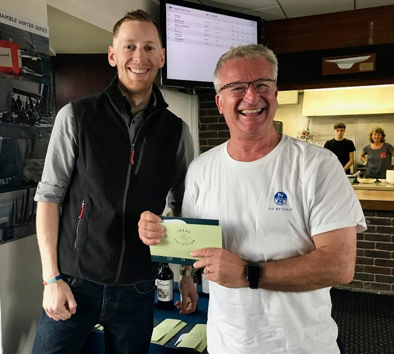 General Manager of The Bugle Hamble, presents Blackjack's Andy Howe with his prize - photo © Louay Habib / Hamble Winter Series