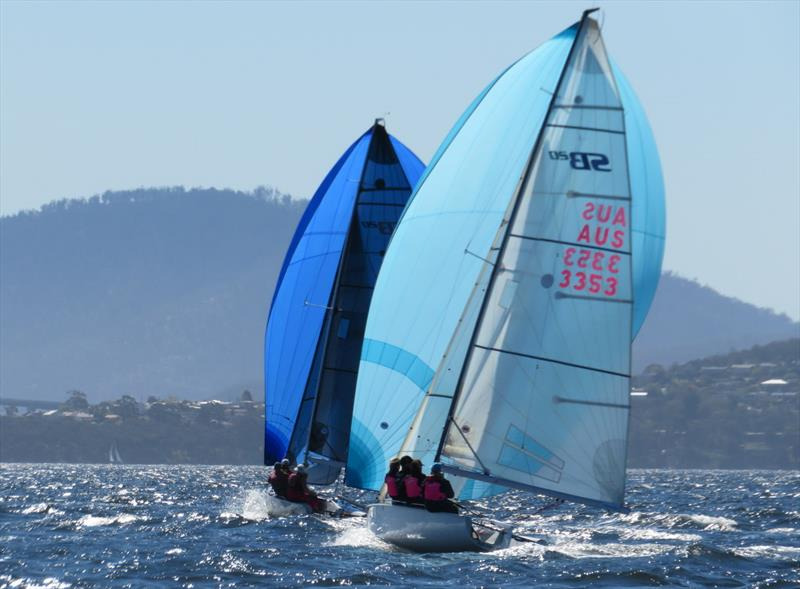 Teenage skipper Issi Declerk helming Power of Athena in the SB20 Sprint Series in Hobart - photo © Michelley Denney