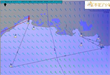 The course map for leg one of the ICOM Cup Méditérranée, covering 160nm from La Grande Motte to Marseille via four race marks