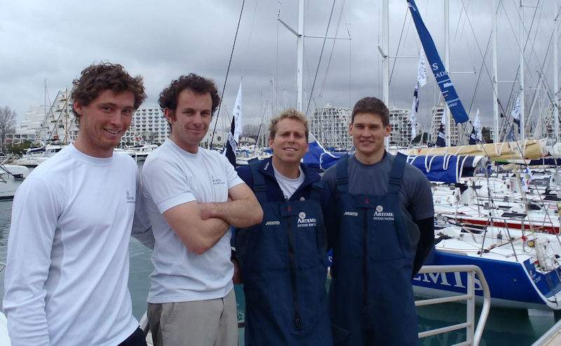 The Artemis Offshore Academy ICOM Cup Mditrrane skippers, Jack Bouttell, Ed Hill and Henry Bomby with Academy prparateur Nick Cherry