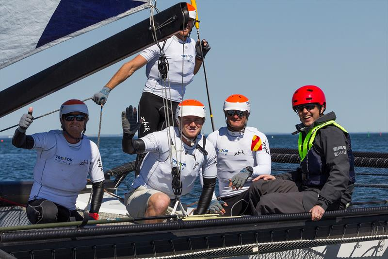 Frederik, Crown Prince of Denmark (right) onboard with TREFOR Match Racing, skippered by Nicolai Sehested (middle) at the WMRT Copenhagen event photo copyright Ian Roman taken at  and featuring the M32 class