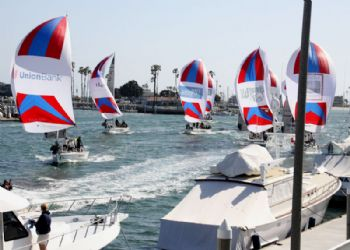 Switzerland's Eric Monnin leads  the exhibition fleet race home on day four of the 49th Congressional Cup