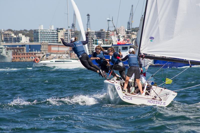RPAYC victory swim - 2018 Hardy Cup Sydney International Match Racing Regatta photo copyright Darcie C Photography taken at Royal Sydney Yacht Squadron and featuring the Match Racing class