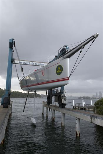 Wild Oats XI out of water with appendages on show
