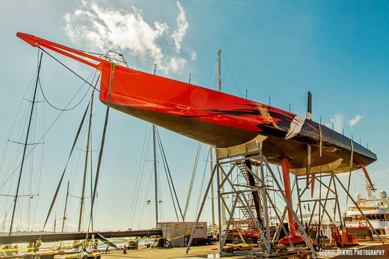 Comanche has her keel and mast fitted