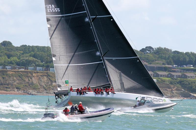 Powerboats take on Rambler 88 after the Rolex Fastnet Race start - photo © Mark Jardine / YachtsandYachting.com