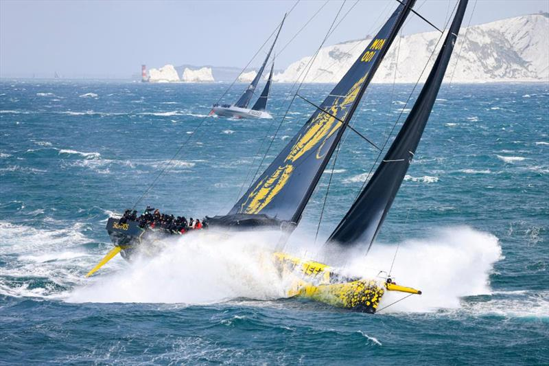 Dmitry Rybolovlev's ClubSwan 125 Skorpios and George David's Maxi Rambler 88 beating into the English Channel in the Rolex Fastnet Race - photo © Carlo Borlenghi / Rolex