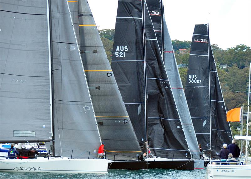 Ghost Rider in the foreground during a start at MC38 Winter Series Act 3 - photo © KJT Sailing Photography