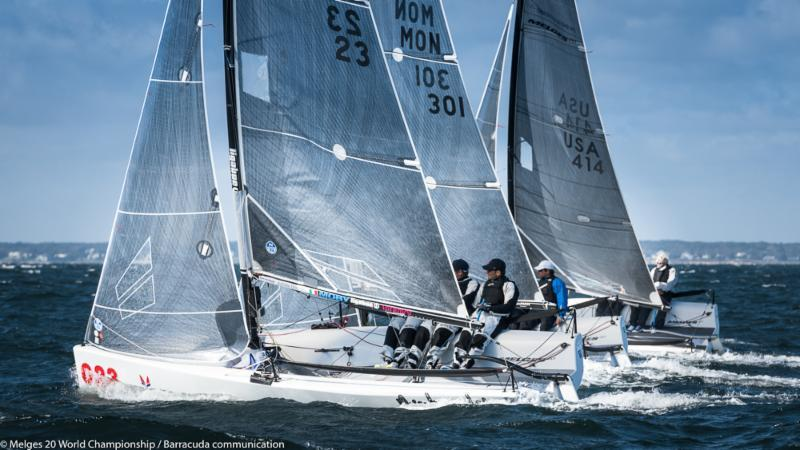 Three races on day 1 of the Melges 20 Worlds at Newport, R.I. photo copyright Melges 20 World Championship / Barracuda communication taken at New York Yacht Club and featuring the Melges 20 class
