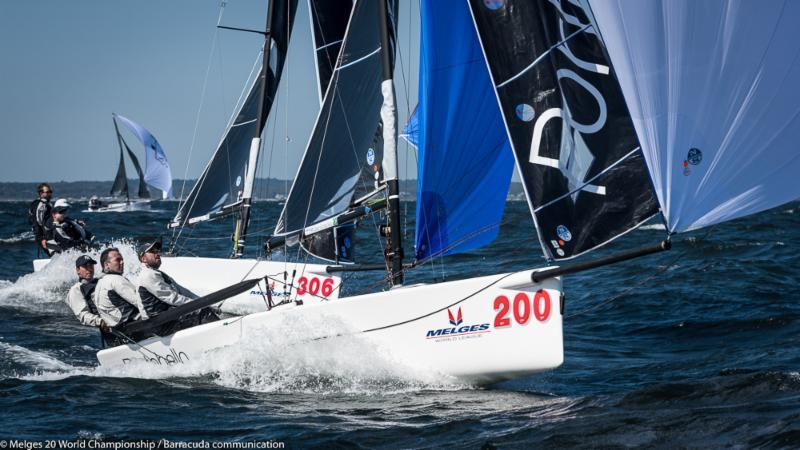 Cesar Gomes Neto PORTOBELLO (BRA-200) on day 1 of the Melges 20 Worlds at Newport, R.I. photo copyright Melges 20 World Championship / Barracuda communication taken at New York Yacht Club and featuring the Melges 20 class