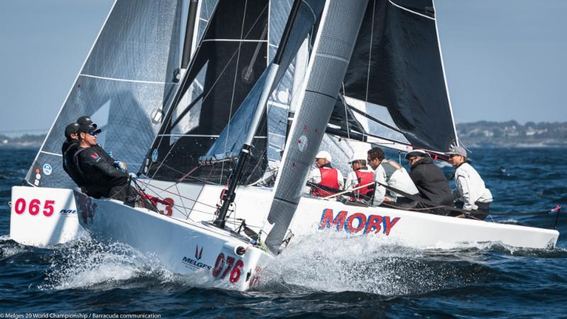 Daniel Thielman's KUAI (USA-7676) charges the windward mark ahead  of Caleb Armstrong's MOBY (USA-213) and Alessandro Rombelli's STIG (ITA-65) on day 2 of the Melges 20 Worlds at Newport, R.I. - photo © Melges 20 World Championship / Barracuda communication